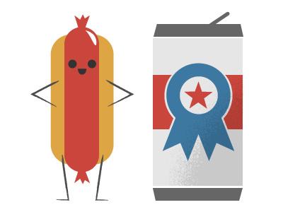 Americana food americana beer frank illustration