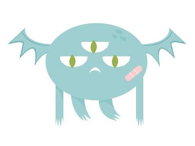 Monster illustration blue wings monster
