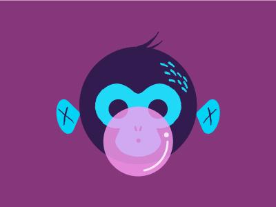 Bubblegum Monkey illustration blue pink bubble-gum monkey