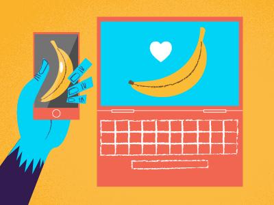 Monkey Mobile Desktop banana phone laptop desktop mobile monkey