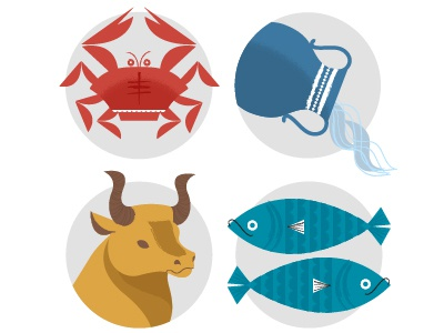 Zodiac Partial Set set zodiac fish pisces bull taurus water aquarius crab cancer illustration