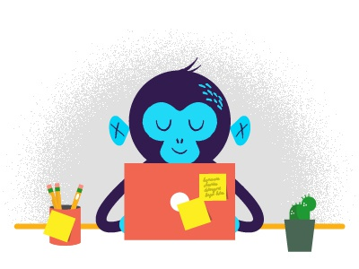 Office Monkey desk office monkey illustration