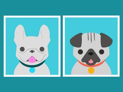 Dogs Onboarding Illustration picmonkey onboarding frenchie pug illustration