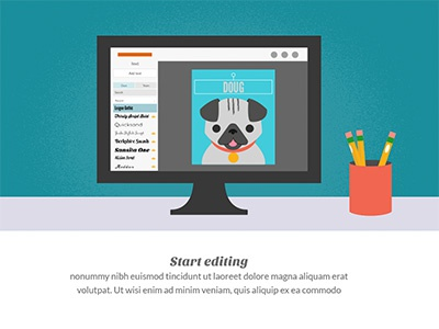 Onboarding Editor picmonkey onboarding pug illustration