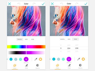 Color Wheel picmonkey rgb hex app mobile color wheel ui ux