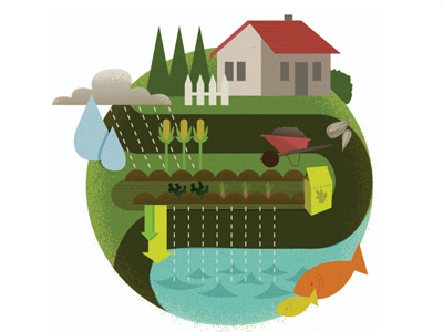 Natural yard care illustration