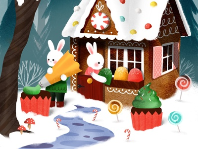 Sweet tooth bunnies colorful holidays whimsical vintage house gingerbread bunnies candy illustration christmas