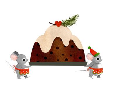 holiday mice illustration procreate mouse mice dessert fruitcake baking holiday