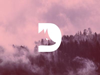 FOX + D d letter fox white red light fog simple logodesign minimal logo