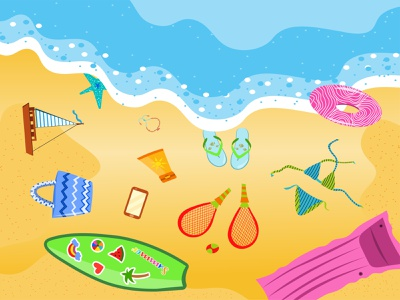 Summer beach illustration waves elements illustraion vector sun sea holiday beach summer