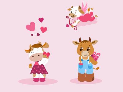 Bulls in love heart holiday symbol cartoon cute animal greeting character gift celebration romance in love bull illustration vector hearts animals romantic love bulls