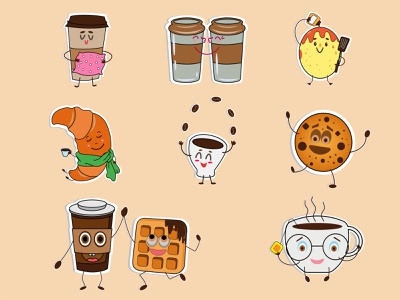 Coffee stickers cartoon character sticker vector illustration face emotions cookies chocolate caramel waffle croissant coffee beans funny love pancake icon happy stickers coffee