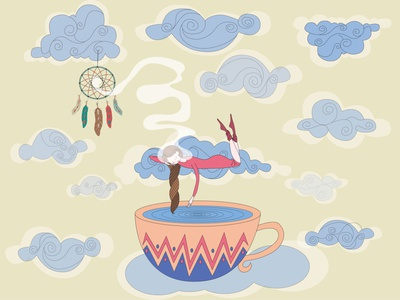 Sleeping girl character sleeping woman dreamcatcher magic airy dreaming background cute cup art clouds tea white nature design blue cartoon cloud illustration sky