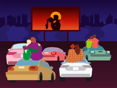 Drive in theater event outside screen illustration film entertainment car cinema movie gays hugs lesbians presentation day valentine lgbt love theater drive-in