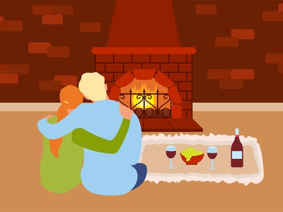Romantic dinner cozy sitting cartoon happy family home man illustration relax grapes hugging fire wine warm day valentine fireplace couple evening romantic