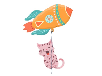 Cute cat flies on a balloon shuttle pastel creative joyful striped travel trip poster cards spaceship adorable vector space fly animal cartoon rocket ballon cat cute