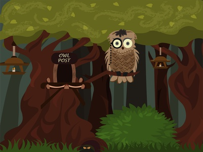 Owl in the forest foliage hole art ground home beautiful spring animal face monocle talon darkness bird post security character eyes owl travel wing