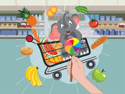 Smile little elephant rides in a cart bananas buy fruit shop cute cart cucumbers purchase hand products supermarket cart concepts yellow sitting decoration supermarket shelves supermarket shelves supermarket interior market