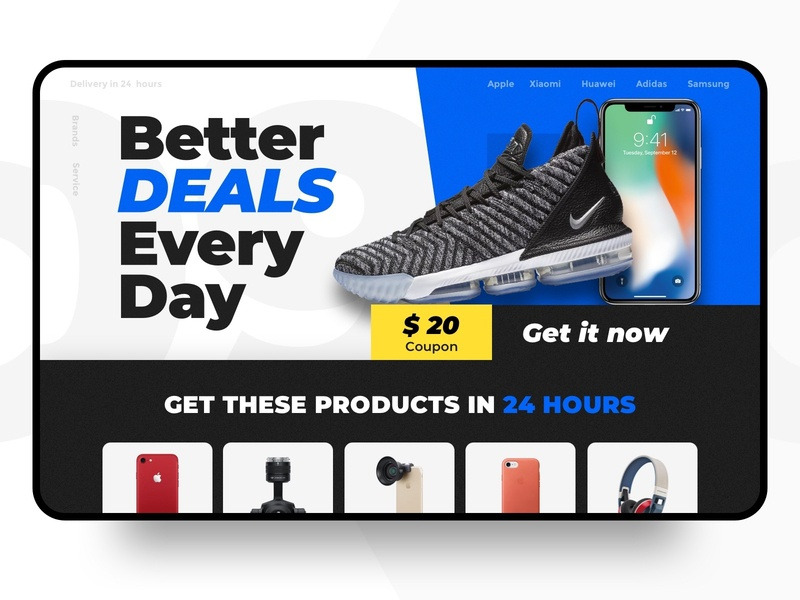 Landing Page promotion sale deals iphone shoes nike shop ux landing  page landing web design ui