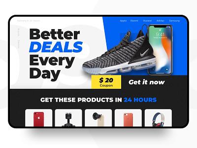 Landing Page promotion sale deals iphone shoes nike shop ux landing  page landing web design ui