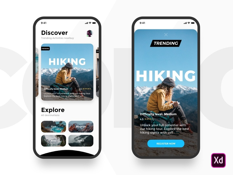 Activity App hiking acivity design web ios ux ui mobile app