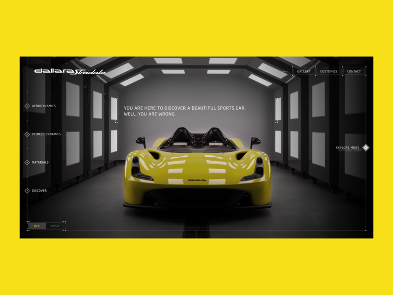 Dallara Stradale - Homepage yellow website web ux ui photography photo layout intro instrument homepage fullscreen desktop design dallara customize creative car blue automotive