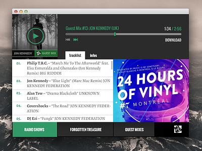 Music Player Popup player audio player music mix mixes radio tracklist