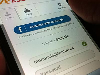 Login screen login form facebook connect