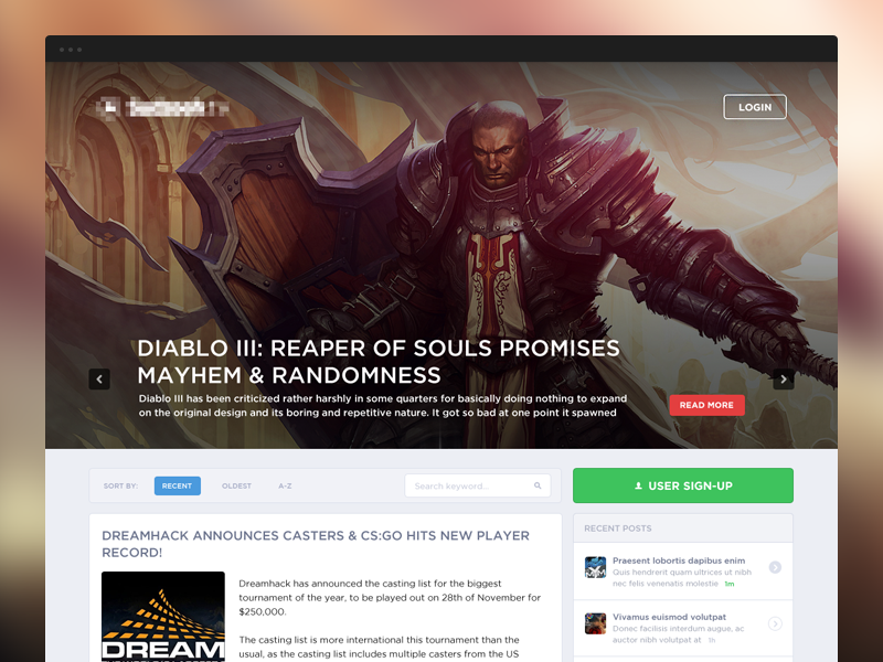 News WIP design web webdesign gaming esports news
