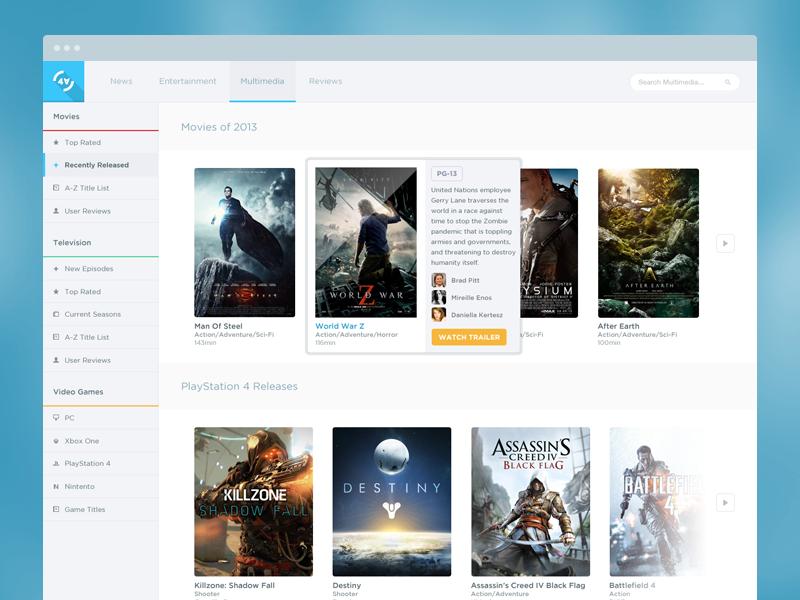 Multimedia Gallery design web webdesign movies news videogames video games tv