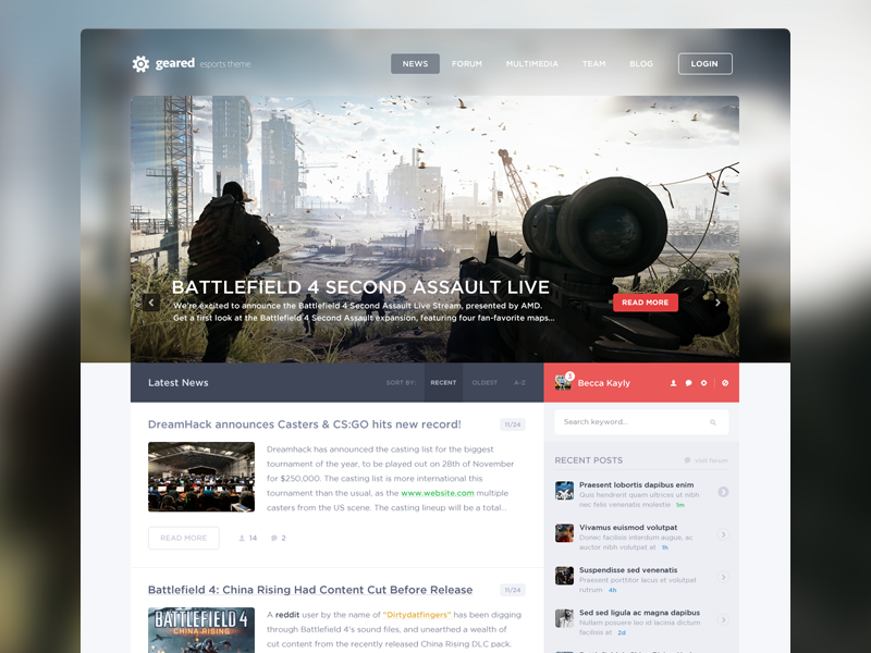 News WIP 2 design web webdesign gaming esports news