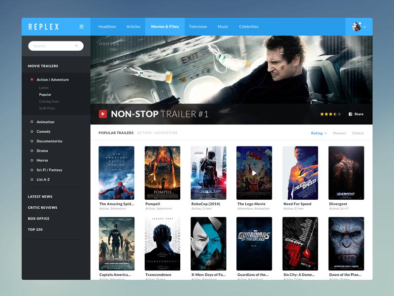 Replex Movie Trailers WIP webdesign web design movie ui app application