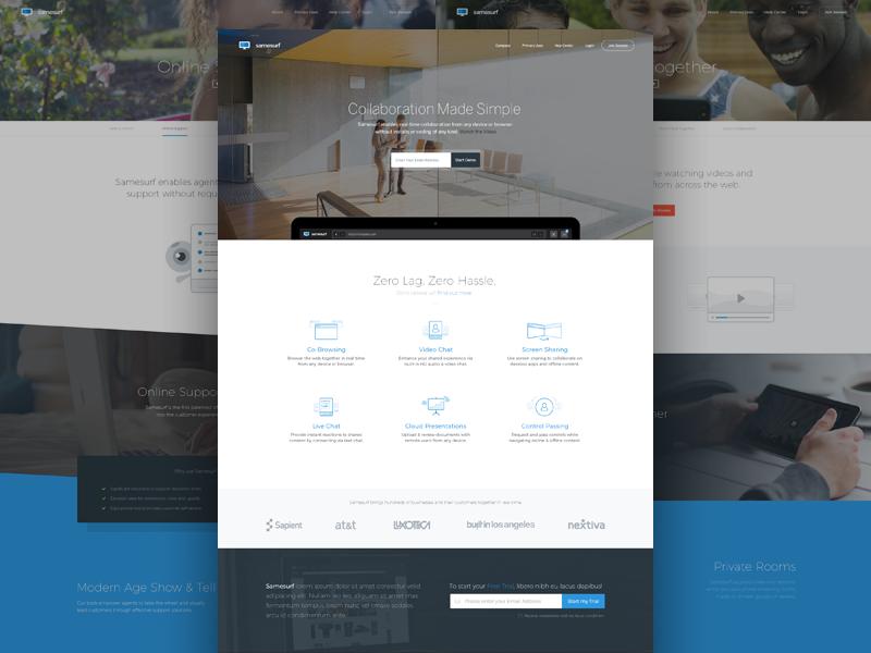 Samesurf - Browse the Web together video chat live chat web design presentation landing screenshare webrtc product branding browse cobrowse samesurf