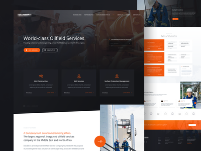 Oilfield Services business company orange gradient light dark services field oil oilfield website