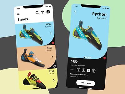 Climbing Shoes Shop App mobile design shop ecommerce shoes climbing ios mobile vector minimal flat ux ui design app