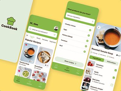 CookBook App Ui Design mobile app mobile app design mobile design mobile ui mobile minimal ux ui design app