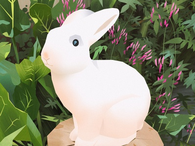 Happy easter rabbit flat design flat digitalpainting illustration