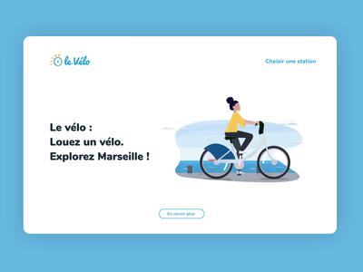 Landing page UI animation landing page marseille bike flat motiondesign webdesign uxdesigner uidesigner uidesign illustration