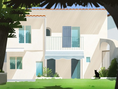 Home architecture illustration garden house home