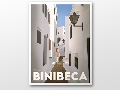 Binibeca illustration digital painting holidays street spain travel minorca binibeca