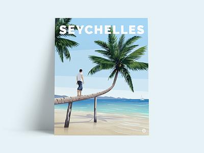 Seychelles Poster travelling poster art poster digitalpainting illustration
