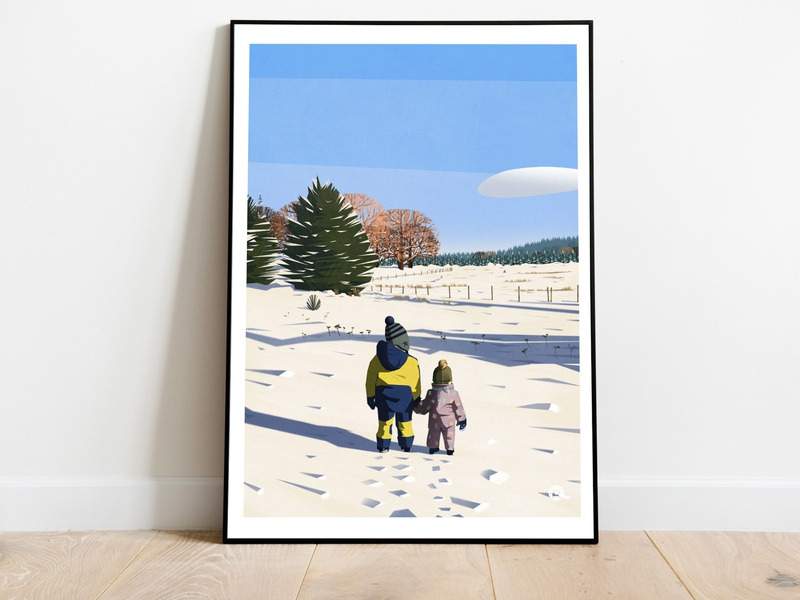 Brothers in the snow brothers winter snow poster art posters digitalpainting illustration