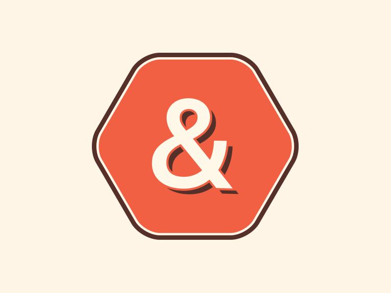 Secondary Mark for Goddess and Grocer stamp sticker ampersand type hexagon honeycomb shape retro branding logo identity alex garey