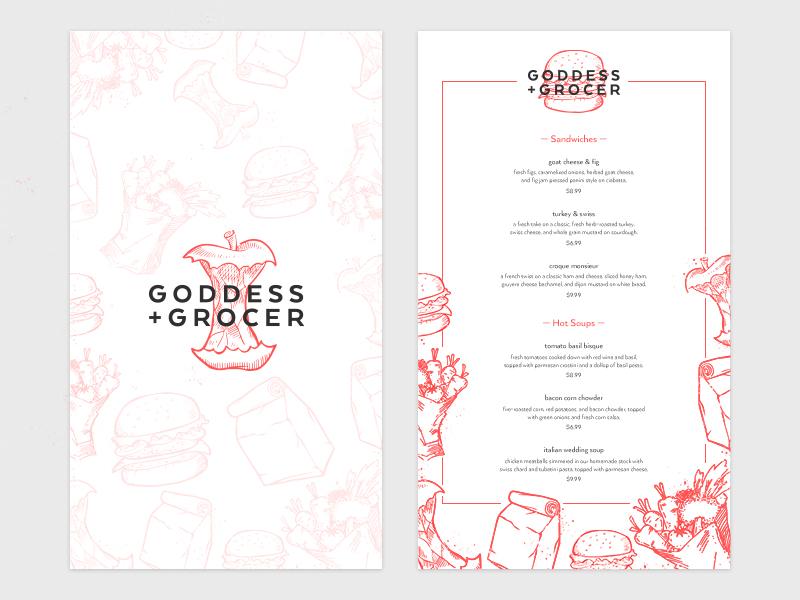 Goddess and Grocer Menu Concept alex garey typography illustration branding menu print identity food goddess and grocer red