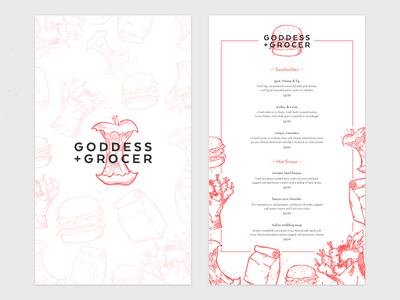 Goddess and Grocer Menu Concept