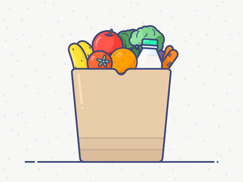 Grocery Bag Vector Illustration by Alex Garey on Dribbble