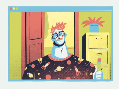 Home office Part II facetime home pyjamas illustration home office