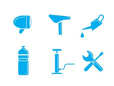 Radgeber Icons bottle light saddle parts bike pump service repair