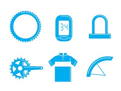 Radgeber Icons tachometer tyre crankset lock jersey parts bike