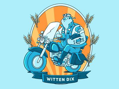 Witten Dix biker duck motorcycle craft label beer